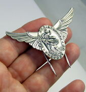 Estate Vintage Large Pilots Wings Sterling Silver St Christopher Pin Military