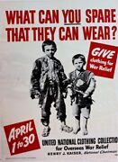 Give Clothing For War Relief - Ww 2 - Large Original Collectable Scarce