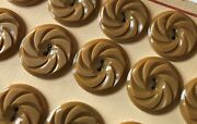 Vintage Buttons 24 Taupe Color 2-hole Flat Back Pin Wheel 15/16 Casein Buttons
