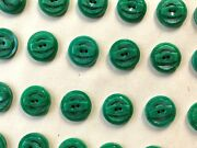 Vintage Buttons - 24 Green 2-hole 5/8 Casein Raised And Carved Buttons - France