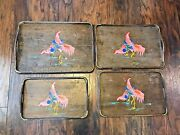 Vintage Nesting Trays Set Wood Brass Handpainted Rectangle Japan Wales Chickens