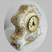 France Vintage Porcelain Clock With Gold And Victorian Scene