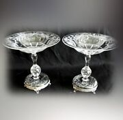 Pair Pairpoint Art Glass Control Bubble Compotes - Silver Plated Bases