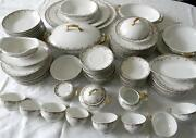 T And V Limoges 96 Pc Dinnerware Service - Roses And Gold - Circa 1900