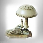 Marble Table Lamp With Carved Peacock Decoration And Domed Light Lid
