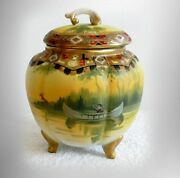 Nippon Hand Painted Biscuit Or Cracker Jar - Indian In Canoe Scene