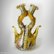 Moser Decanter Or Cruet With Enamel And Applied Art Glass - Double Spout