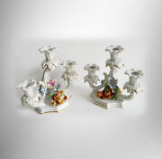 Dresden Pair Of Candelabra With Floral And Gold