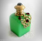 Czech Vintage Perfume Bottle With Hinged Top - Jewels And Gold