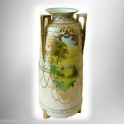 Nippon Large Vintage Vase With Hand Painted Scenes Three Handles And Gold