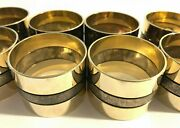 Shiny Brass Napkin Rings W/ Brushed Silver-toned Stripe, Set Of 10, Quality