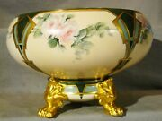 Signed Willets American Belleek Art Nouveau Punch Bowl On Paw Foot 1880and039s-1909