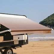 Aleko 8'x8' Retractable Motorized Rv Or Patio Canopy Awning Brown Fade Color