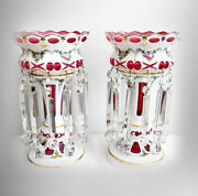 Pair Of Large White To Cranberry Mantel Lusters With Heavy Prisms