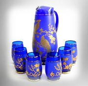 Bohemia Czechoslovakia Pitcher And Glasses Set - Blue And Gold