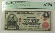 National State Bank Of Troy Ny 1902 5 Red Seal Note Fr. 587 991 Pcgs Vf-35ppq
