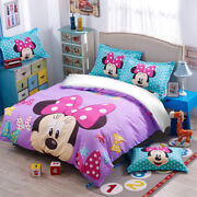 Minnie Mouse Purple Duvet Cover Set Twin/full/queen/king Size Bedding Set