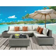 Acme Salena 3 Piece Wicker Patio Sectional Set In Beige And Gray