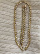 Suzanne Somers Yellow And Clear Trilliant Necklace And Bracelets Set 123 Grams❤️