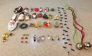 Lot Of Vintage Costume Christmas Jewelry Pins Brooches Earrings Necklaces