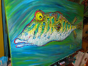 Original Oil Painting Puffer Fish Sushi By Ann Susan Elmer Bold Thick Paint