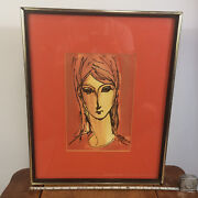 Vintage Harris G Strong Mid Century Women Girl Water Color Painting