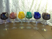 Set Of 12 Imperlux Multi-color Cut To Clear Crystal Wine Hocks 8