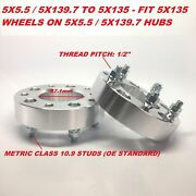 2pc 50mm 2 Inch Wheel Adapters 5x5.5 To 5x135 5x139.7 To 5x135   1/2 Stud