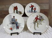 Norman Rockwell Four Seasons Set Of Four Plates Dads Boy Gorham 1980