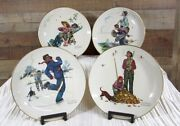 Norman Rockwell Four Seasons Set Of Four Plates Grandpa And Me Gorham 1974