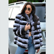 Top Quality Womenand039s Chinchilla 100 Real Rex Rabbit Fur Coat Whole Skin Overcoat