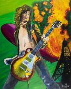 Jimmy Page On Fire - Acrylic Painting On Canvas