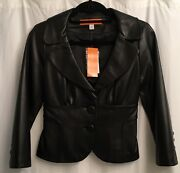 Nwt Cynthia Steffe Womens Short Cropped Fitted Black Leather Lined Jacket Sz 4