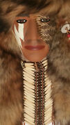 Vintage Native American Fur Head Dress And 1/2 Snake Face