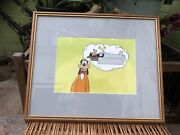 Original Disney Goofy Animation Production Cel 1950s Hand Painted Dreaming Bed L