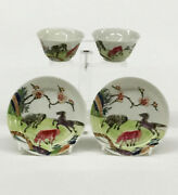 2 Small Cups And Saucers 18th Century Chinese Famille Rose Porcelain
