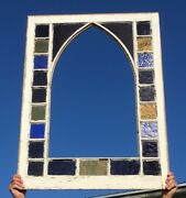 Antique Large 46x34 Gothic Stained Colored Glass Window Sash Old Vtg 549-18e
