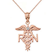 Solid 14k Rose Gold Diamond Rn Registered Nurse Medical Wings Pendant Necklace
