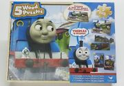 Thomas Train And Friends 5 Wood Puzzles Storage Box Tray Educational Learn Puzzle