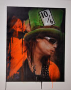Steven Tyler Signed 24x30 Canvas Custom 10/6 Tophat Painting Exact Proof