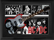 Ac/dc Angus Young Signed Airbrushed Guitar Custom Shadowbox Display Case