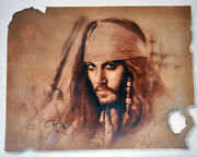 Johnny Depp Autographed Signed 24x30.5 Hand Painted Canvas Custom Painting Exact