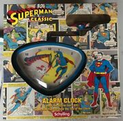 Superman Classic Alarm Clock With Retro Packaging And Spinning Superman