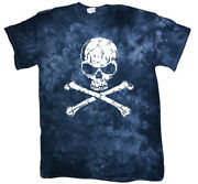 Menand039s Tie Dye T-shirt Skull And Crossbones Pirate Decal Tee Unique Gifts For Men