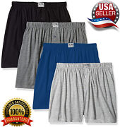 Ultra Mens Knit Boxer Shorts 100 Cotton Assorted Solid Color Underwear - 4 Pack
