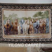 Yilong 3and039x4and039 Handwoven Silk Rug Wall Hanging Tapestry Steed Animal 1201