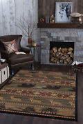 Green Striped Rustic Primitive Area Rug Trees 5x7 Carpet Actual 5and039 3 X 7and039 3