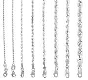 10k White Gold 1.5mm-7mm Diamond Cut Solid Rope Chain Pendant Necklace 16- 30