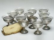 Set Of 12 J.e. Caldwell And Co Sterling And Crystal Coup Desert Glasses 27 T Oz