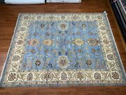 Traditional 8x10 Light Blue Wool Indian Area Rug